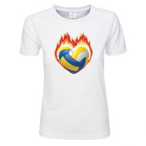 """Koszulka siatkarska """"Serce, ogień i piłka"""" – damska poliestrowa"""