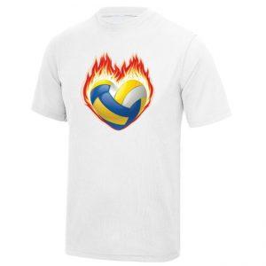 """Koszulka siatkarska """"Serce, ogień i piłka"""" – dziecięca poliestrowa"""