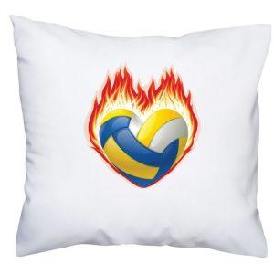 """Poduszka z siatkarskim nadrukiem """"Serce, ogień, piłka"""""""